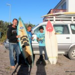 Handing over the surfboards to the locals in Elands Bay